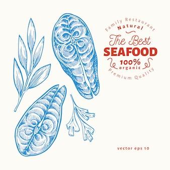 Illustrations de steaks de poisson. illustration de fruits de mer de vecteur dessiné à la main. style gravé. nourriture rétro, morceau de saumon ou de truite