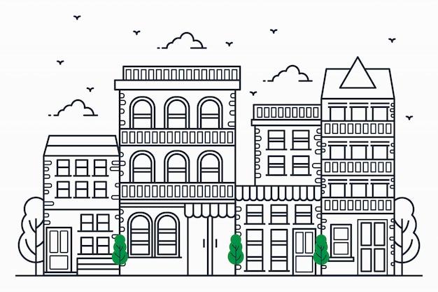 Illustrations urbaines modernes dans un style de ligne