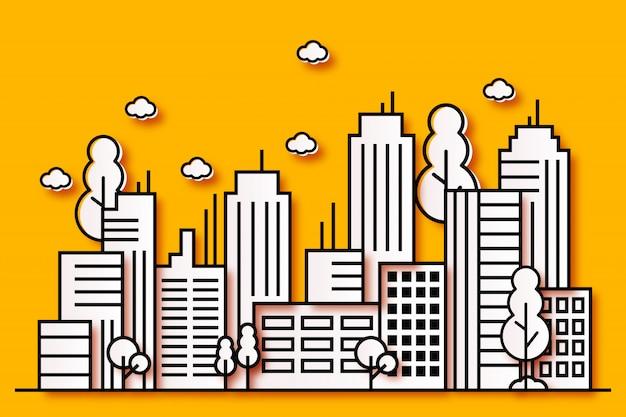 Illustrations urbaines modernes dans un style papier