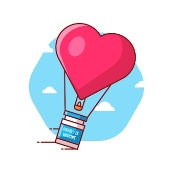 Illustrations de vecteur de dessin animé amour ballon avec bouteille de vaccin. concept d'icône de médecine et de vaccination