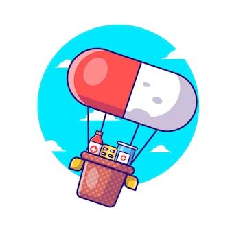 Illustrations de vecteur de dessin animé ballon de pilule avec des médicaments. journée de la pharmacie et médecine icône concept
