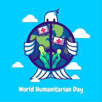 Illustrations de vecteur de dessin animé de journée humanitaire mondiale. concept d'icône de journée humanitaire mondiale isolé vecteur premium