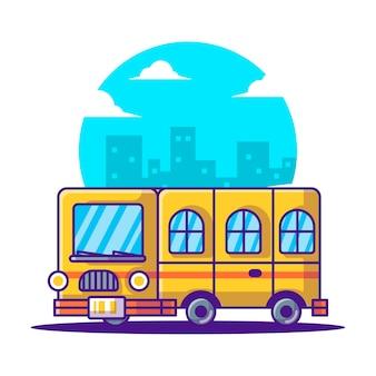 Illustrations de vecteur de dessin animé mignon école de bus. retour au concept d'icône de l'école