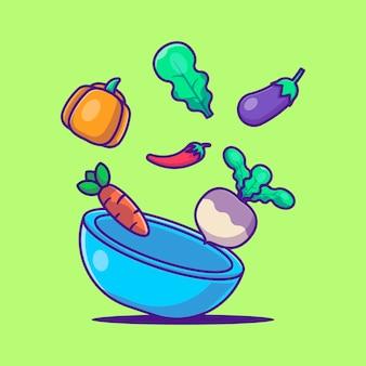 Illustrations de vecteur de dessin animé mignon voler des légumes. concept de la journée végétarienne mondiale