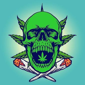 Illustrations vectorielles de cannabis vert crâne fumée