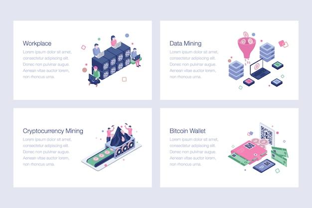 Illustrations vectorielles de crypto-monnaie et blockchain