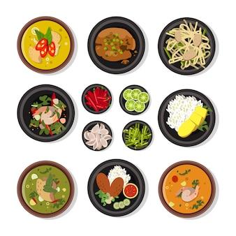 Illustrations vectorielles de la cuisine thaïlandaise