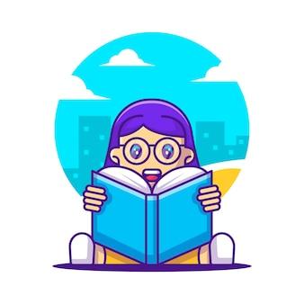 Illustrations vectorielles de dessin animé mignon étudiante lisant un livre. retour au concept d'icône de l'école