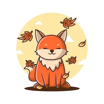 Illustrations vectorielles de dessin animé mignon fox en automne. concept d'icône de jour d'automne