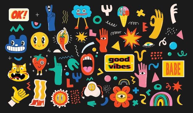 Illustrations vectorielles dessinées à la main de l'ensemble de divers patchs, épingles, timbres ou autocollants avec des personnages comiques abstraits drôles et mignons.