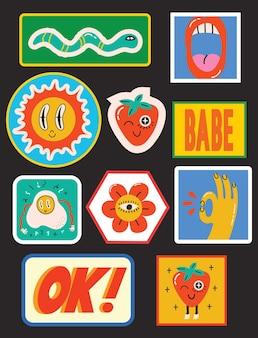 Illustrations vectorielles dessinées à la main d'un ensemble de timbres ou d'autocollants de divers patchs avec amusement abstrait ...