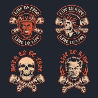 Illustrations vectorielles d'un diable de motard avec un cigare, un patch de motard et un crâne de motard dans le casque. la conception est parfaite pour les logos, les conceptions de vêtements et de nombreuses autres utilisations.