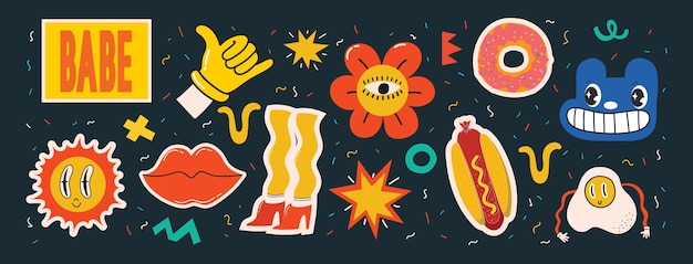 Illustrations vectorielles de l'ensemble de divers patchs épingles timbres ou autocollants