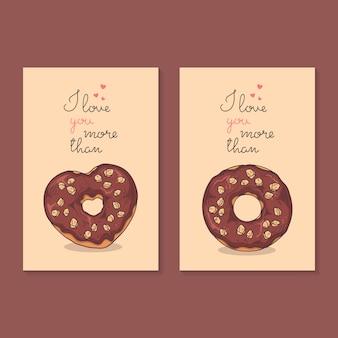 Illustrations vectorielles félicitations pour la saint valentin. cartes avec des beignets.