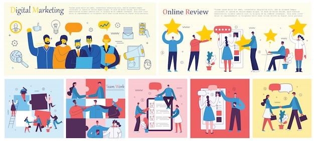 Illustrations vectorielles des gens d'affaires de concept de bureau dans le style plat. e-commerce, gestion de projet, démarrage, marketing numérique et concept d'entreprise de publicité mobile.