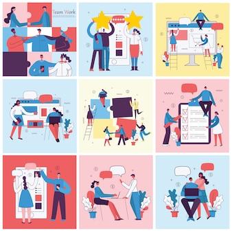 Illustrations vectorielles des gens d'affaires de concept de bureau. e-commerce, gestion de projet, démarrage, marketing numérique et concept d'entreprise de publicité mobile.