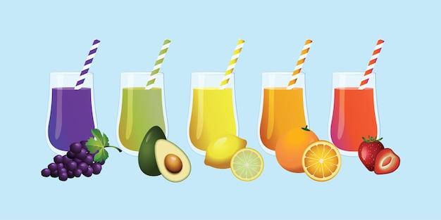 Illustrations vectorielles de jus de fruits raisin avocat fraise citron et orange