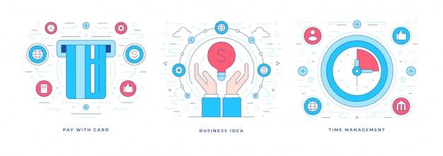 Illustrations vectorielles en ligne de solutions modernes pour les entreprises avec des icônes pour le marketing des médias sociaux