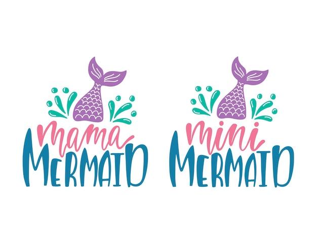 Illustrations vectorielles de maman sirène et mini sirène.