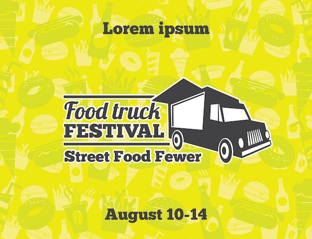 Illustrations vectorielles de nourriture urbaine et de rue pour affiche. voiture de café de bannière, rue du déjeuner, illustration de l'événement