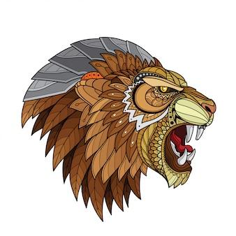 Illustrations vectorielles de tête de lion stylisée zentangle