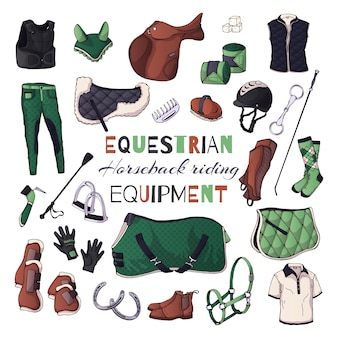 Illustrations vectorielles sur le thème de l'équipement équestre.