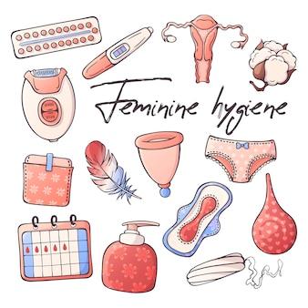 Illustrations vectorielles sur le thème de l'hygiène féminine.