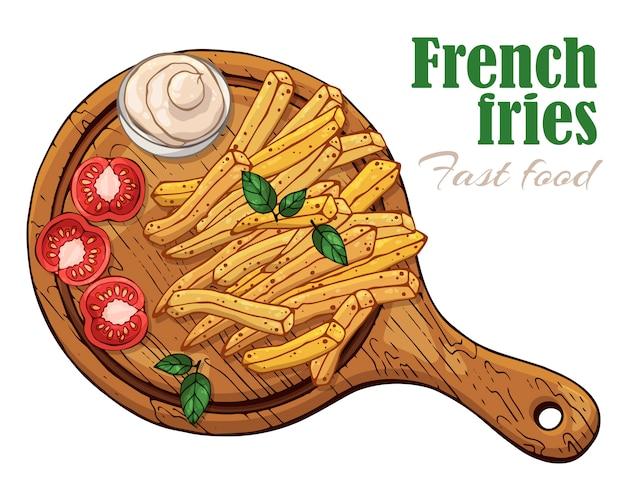 Illustrations vectorielles sur le thème de la restauration rapide: frites sur une planche.