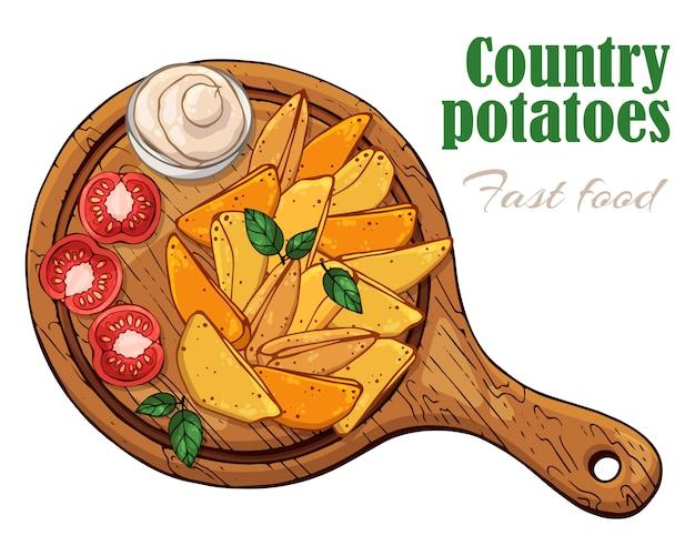 Illustrations vectorielles sur le thème de la restauration rapide: pommes de terre du pays sur une planche.