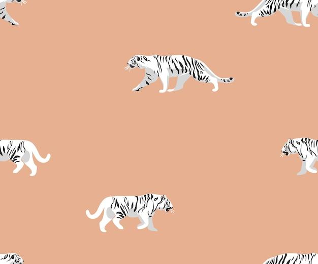 Illustrations vectoriellessafari bohème contemporain imprimé sans couture avec des tigres sauvages exotiques