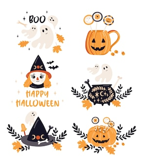 Illustrations de voeux d'halloween.
