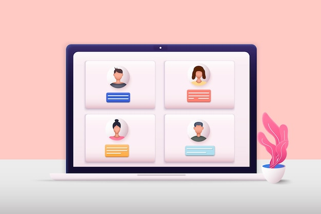 Illustrations web 3d téléconférence web vidéoconférence
