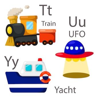 Illustrator pour véhicules série 4 avec train, ovni et yacht
