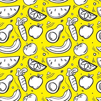 Illustré de modèle sans couture de légume fruit