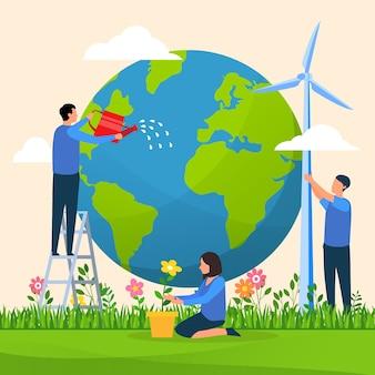 Illustré sauver le concept de la planète