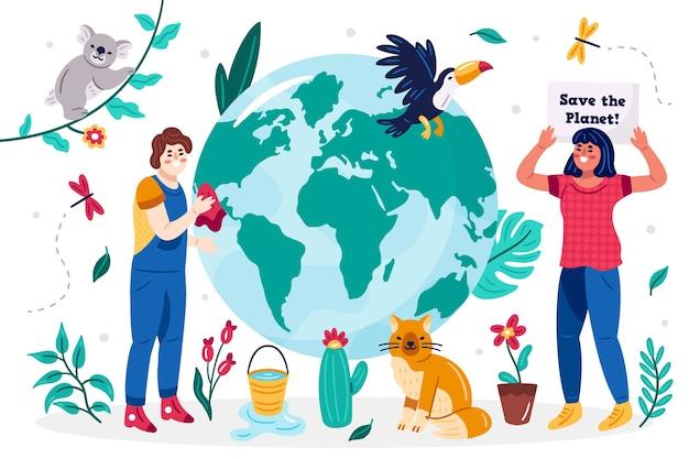 Illustré sauver la planète