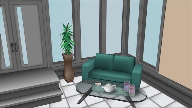 Ilustración de una sala exterior