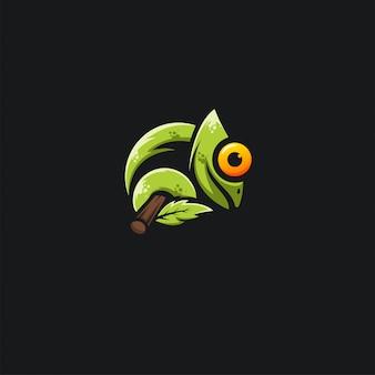 Ilustration design caméléon vert