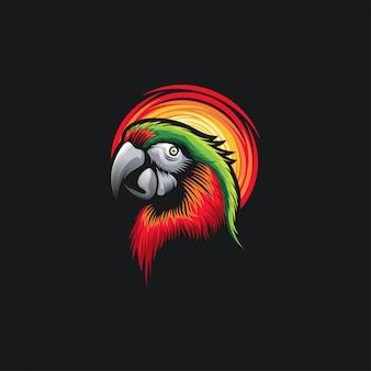 Ilustration design tête de perroquet