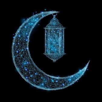 Image abstraite d'une lune arabe et d'une lanterne sous la forme d'un ciel étoilé ou d'un espace