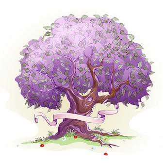 Image d'un arbre avec des feuilles, l'arbre de la sagesse et de la vie