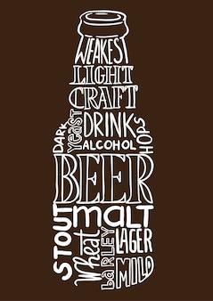 Image de bouteille de bière composée de mots (nuage de tag)