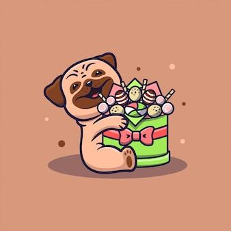 L'image d'un chien étreignant une boîte de bonbons. le chiot drôle