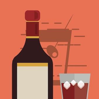 Image cocktail verre et bouteille de liqueur