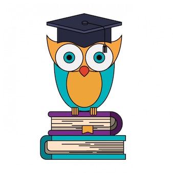 Image colorée de la connaissance de la chouette avec l'obtention du diplôme sur une pile de livres