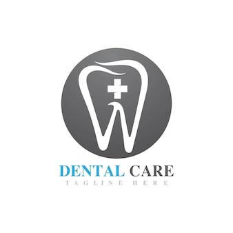 Image de conception d'icône de vecteur de logo de soins dentaires