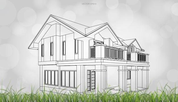Image conceptuelle du rendu de la perspective de la maison. rendu filaire 3d avec arrière-plan flou flou clair. illustration vectorielle.