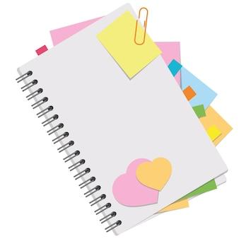 Une image couleur d'un cahier ouvert avec des feuilles vierges et des signets