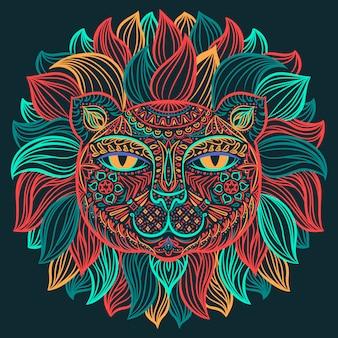 Image en couleur d'une tête de lion sur un fond sombre.