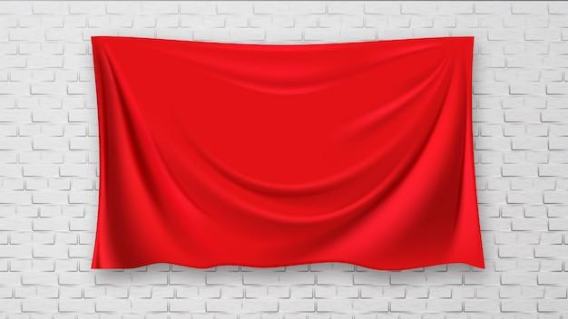 Image couverte sur un mur de toile rouge brique